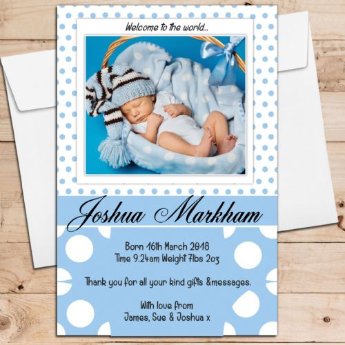 10 Personalised Baby Boy Birth Announcement Thank You PHOTO Cards N12